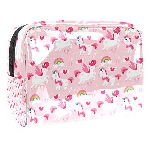 Bolsa de maquillaje portátil con cremallera bolsa de aseo de viaje para las mujeres práctico almacenamiento bolsa cosmética lindo unicornio rosa bebé patrón