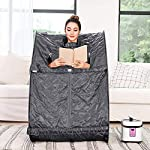 Tinfancy Portable Steam Sauna, 2L Personal Therapeutic Sauna for Full Body Weight Loss Detox Relaxation Slimming, One Person Sauna with Remote Control, Foldable Chair,Timer (US Plug)