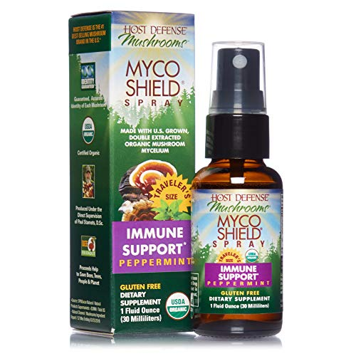 Host Defense, MycoShield Peppermint Spray, Immune Support, Mushroom Supplement with Turkey Tail, Reishi and Chaga, Vegan, Organic, 1 oz (71 Servings)