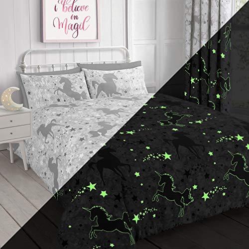 Velosso Unicorn Stars Magical Glow in the Dark Duvet Cover Bedding Set (Grey, Single)