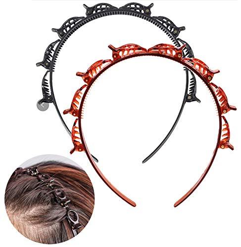 Haarreif mit Klammern 2 Stück | schwarz & braun | Easyclips Haarreifen mit Clips | Luftige Haarspangen Haarreifen für leichtes Haar