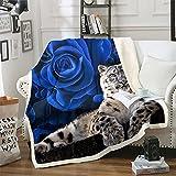 Erosebridal Snow Leopard Fleece Throw Blanket, Blue Rose Flower Plush Throw Blanket Wild Animal Blanket for Kids Boys Girls Modern Fashion Comfy Travel Bed Blanket King 87'x95'
