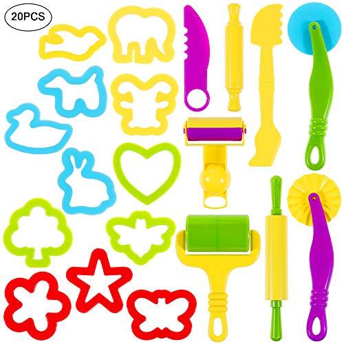 Lictin Knetwerkzeug Knete Zubehör 20 Pcs Teig Plastilin Werkzeuge Teigwerkzeug Ausstechformen Spielzeug Kinder