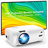Projector, VILINICE 6500 Lux Projector with Screen, Support 1080P Full HD 200'' Display, 100,000 Hours Video Projector, Compatible with Smartphone, Laptop, TV Stick, HDMI, VGA, USB, DVD, PS4