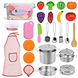 Exqline Kids Kitchen Pretend Play Toys - 25 Pcs Included Stainless Steel Stove and Cookware Pots and Pans Set, Cooking Utensils Accessories, Cutting Vegetables & Fruit, Apron & Chef Hat for Girls Boys