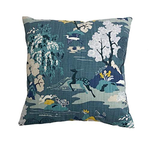 Flowershave357 Dwell Studio Modern Toile Peacock Throw Pillow Cover Shades of Blue Yellow Black and White Pillow case Euro Lumbar Cover