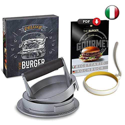 Hamburguesas - Molde para hamburguesas y tortitas Gourmet con molde de huevo de silicona y recetario, profesional con recetarios ⭐