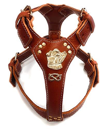 M&D Arnés para perro de piel marrón marrón con diseño de cabeza de Staffordshire Bullterrier dorado y nudo
