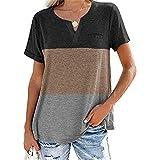 ZFQQ Camiseta Casual de Manga Corta con Bolsillo a Juego de Tres Colores y Cuello en V para Mujer de Primavera y Verano