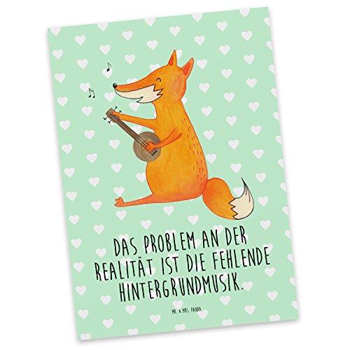 Mr. & Mrs. Panda Postkarte Fuchs Gitarre - 100% Handmade in Norddeutschland - Postkarte, Sänger, Geschenk Musiker, Gitarre, Sängerin, Karte, Papier, Karton, Musik Spruch, Pappe, Einladung, Musikerin