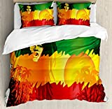 Ambesonne Rasta Duvet Cover Set, Iconic Reggae Music Singer Abstract Design with Sun and Palm Trees, Decorative 3 Piece Bedding Set with 2 Pillow Shams, Queen Size, Orange Yellow