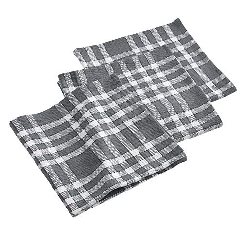 douceur d'intérieur Traditio Serviettes de Table, Coton, Anthracite, 45 x 45 cm - Pack de 3