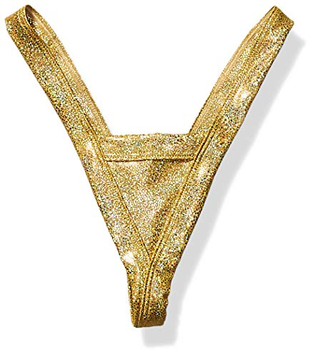 BODYZONE Women's New Years Comfort V Thong, Shattered Gold, One Size