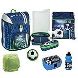 Familando Jungen Schulranzen-Set 7-TLG. | Scooli Flexmax Rucksack 1. Klasse | Dose Flasche Regenschutz | Fußball Blau