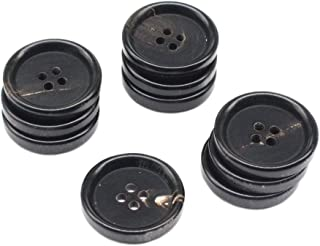 YaHoGa 10PCS 1 Inch Real Horn Buttons for Blazer, Suit, Coats, Overcoat, Winter Coat, Jacket, Uniform 25mm Genuine Natural Black Buffalo Horn Buttons for Men