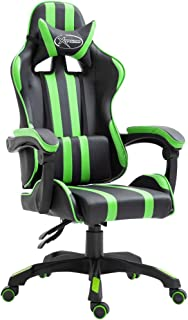 Festnight Silla Gaming de Escritorio Negro y Verde PU 61,5 x 68 x (115-122) cm con Respaldo Ajustable Sillas Sillón Escritorio de Oficina Silla de Ordenador, Giratorio de 360 Grados