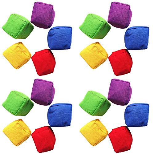 20Pcs Mix Color Bean Bag Throwing Game Set, Classic Bean Bag Family Games for Kids Indoor Outdoor Party Family Garden Sports Games