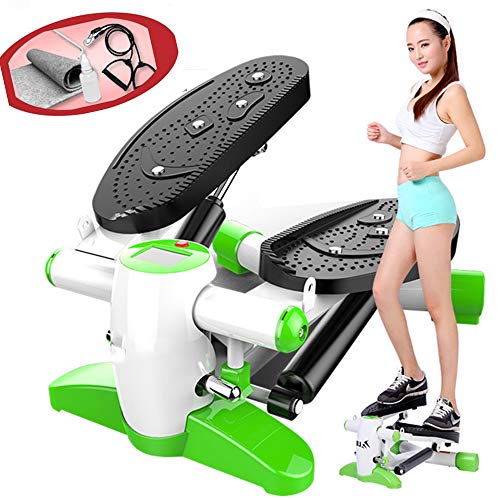 Fitness Twist Stepper, Mini Stepper Twisting Machine met krachtige dubbele hydraulische boost, Armweerstand trainingsbanden, Workout Workplace Health,Green,B