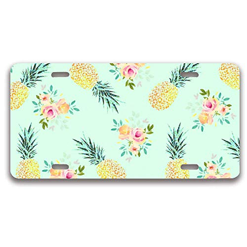 luckmx Metal License Plate Frame, Funny Pineapple License Plate Frame Cover Holder, Car Tag Frame