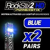 ROCKSTIX 2HDブルー、明るいLEDライトUpドラムスティック, withフェード効果、Set Your Gig on Fire 。 ブルー 10802902