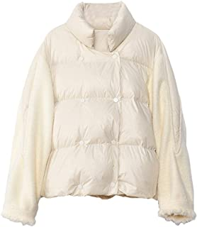 2019 New Women's Short Paragraph Down Jacket White Duck Down Coat Splicing Wool Sleeves Fashion Loose Jacket Water Resistant,White,S