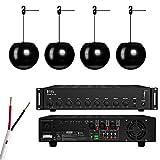 OSD Audio PA90 Commercial Amplifier, 16g Speaker Wire, & Four (4) 6.5' 2-Way Pendant Speakers (Black)