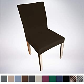 Gorilla Grip Original Velvet Fitted 1 Piece Dining Chair Slipcover, Seat Width to 21.5 Inches, Stretchy Soft Velvety Slip Cover, Spandex Chairs Furniture Protector, Protect from Food, Chocolate