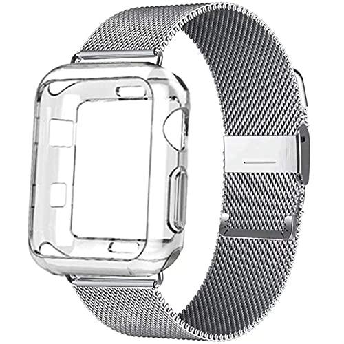 KKFA Milanese Watch Band + Funda para la Serie de Reloj 6 SE 5 4 40mm 44mm 38mm 42mm Correa de Acero Inoxidable Pulsera de la muñeca (Band Color : Transparent, Band Width : 44mm Series 6 SE 5 4)