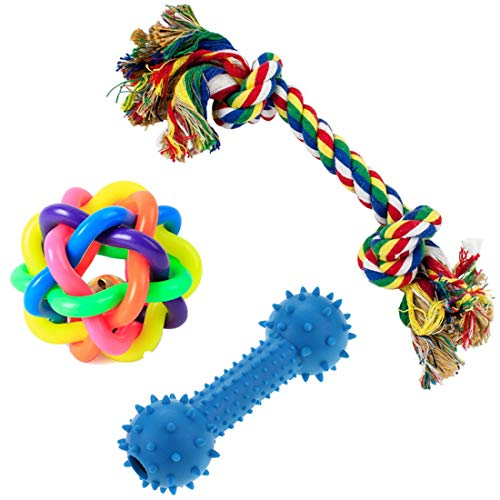 PetVogue Training Ball Ropes and Squeaky Toy Set for Small Dog and Pets - Pack of 3