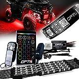 OPT7 Aura ATV UTV Underglow LED Lighting Kit, RGB Multi-colors Neon Underbody Accent Strips w/Smart Brake Sensor, Switch Wireless Remote, Key Chain Controller, Musicsync, IP67 Waterproof, 12V, 10pc