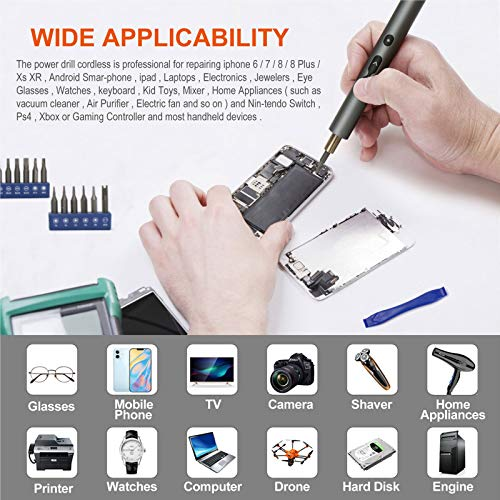 ABLY Mini Electric Screwdriver Set with 24 Precision Bits and LED Light Rechargeable Screw Driver Magnetic Screwdriver Cordless Power Screwdriver for Phone Watch Camera Laptop Switch Game Consoles