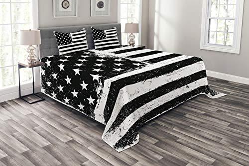 ABAKUHAUS Vereinigte Staaten Tagesdecke Set, SchwarzWeiss-Flagge, Set mit Kissenbezügen Kein verblassen, für Doppelbetten 220 x 220 cm, Schwarz weiß