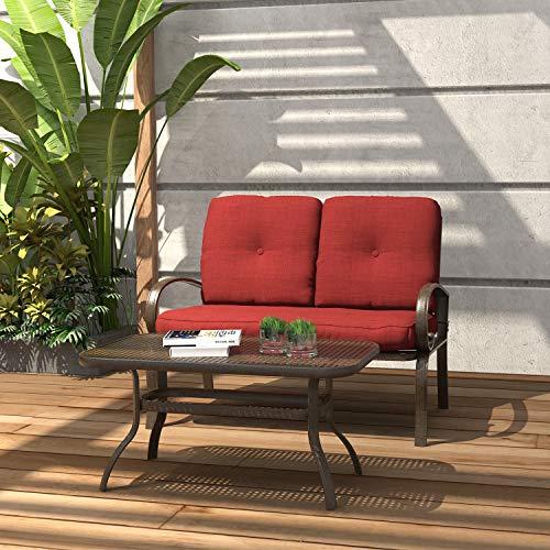 Finefind Patio Loveseat Outdoor 2 PCs Loveseat Furniture Set Garden Patio Love Seat Bench Sofa with...