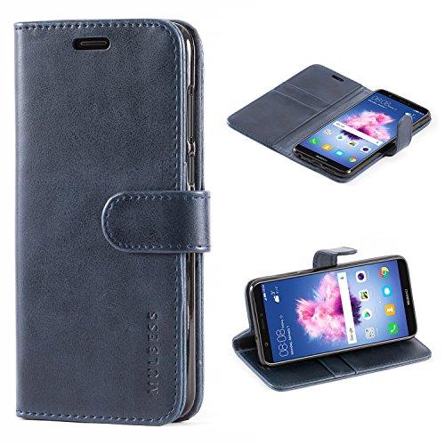 Mulbess Handyhülle für Huawei Honor 9 Lite Hülle Leder, Honor 9 Lite Handy Hüllen, Vintage Flip Handytasche Schutzhülle für Huawei Honor 9 Lite/P Smart 2018 Hülle, Navy Blau