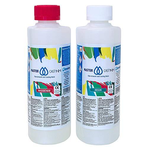 MASTERCAST 1-2-1 Epoxidharz mit Härter Set zum Gießen 400 g für Fluid-Painting   glasklar und UV stabilisiert   Clear Epoxy Casting Pouring Resin