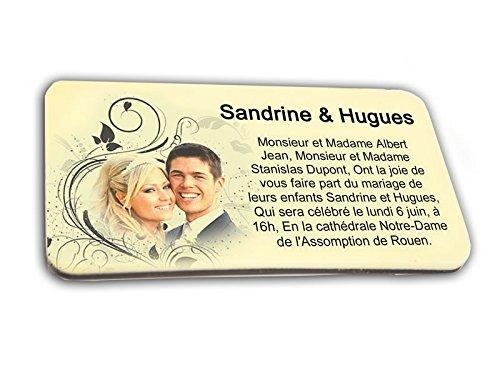 CARTE D'INVITATION en chocolat thème BAROQUE personnalisée avec votre texte - pour baptême mariage communion - invitation en chocolat design et moderne noir et blanc