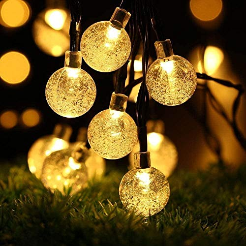 ShineDesign Solar Outdoor String Lights 20ft 30 LED Fairy Lights with Crystal Ball Covers Ambiance Lighting for Outdoor Patio Pathway Garden Party Bedroom Decor Christmas Party (Warm White)-White