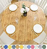 Rally Home Goods Indoor Outdoor Patio Round Fitted Vinyl Tablecloth, Flannel Backing, Elastic Edge, Waterproof Wipeable Plastic Cover, Cedar Wood Grain Pattern for 6-Seat Table of 43-56'' Diameter