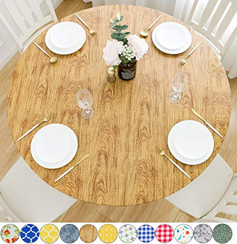 Rally Home Goods Indoor Outdoor Patio Round Fitted Vinyl Tablecloth, Flannel Backing, Elastic Edge, Waterproof Wipeable Plastic Cover, Cedar Wood Grain Pattern for 5-Seat Table of 36-42'' Diameter