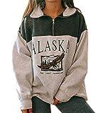 Femmes Alaska Lettre Imprimé Sweat-shirt Lâche Casual Manches Longues Hip Hop Haut Col ras du cou Fermeture Éclair Aigle Graphique Haut - Vert - X-Large