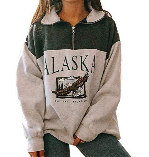 Mujeres Alaska Letra Impresión Sudadera Suelta Casual Manga Larga Hip Hop Alto Cuello Redondo Cremallera Águila Gráfico Top
