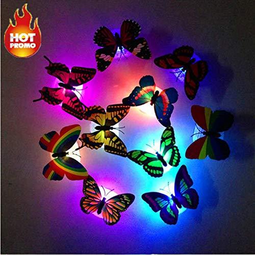 LED Bunt Schmetterling Wanddeko Licht Party Licht Aufkleber, LED Deko Beleuchtung Nachtlicht mit Saugnapf Wandleuchten Romantische mehrfarbigen Flackern Nachtlicht Party Dekoration (1 PCS)