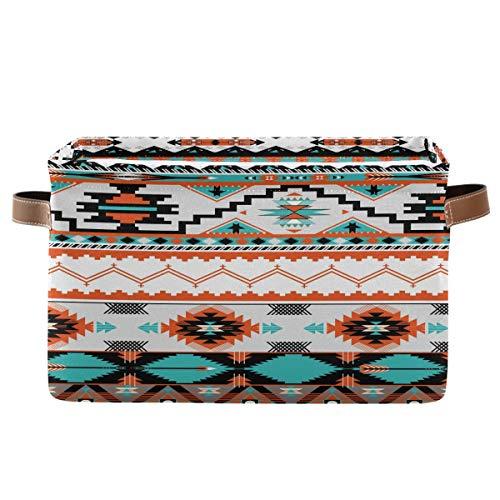 F17 Cesta de almacenamiento étnica tribal azteca patrón geométrico azteca caja de almacenamiento con asa, 1 paquete, plegable de tela de lona para armario, guardería, hogar, oficina, lavandería