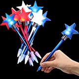 Star LED Ballpoint Pens Red White Blue Light Flashing Pen Black Gel Ink Pen Glowing Children Night Christmas Party Favor, School Office Supplies (12 Pieces)