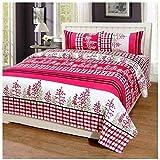 IVAZA Premium 160 TC Latest Beautiful 3D bedsheet Double Bed (Pink)