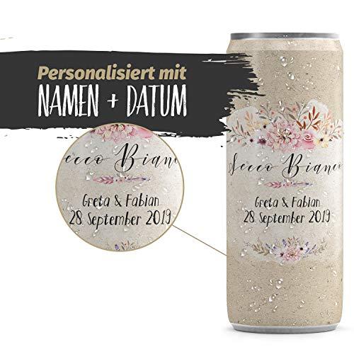 24 Sektdosen Hochzeit personalisiert mit Namen & Datum - 24 x 200ml - Gastgeschenk Geschenk für Gäste zur Hochzeitsgeschenk - rustikal flowers