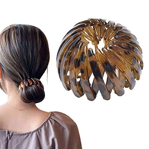 FTIK 2021 Fashion Retro Leopard Print Hairstyle Headbands, Lazos Retractables GeoméTricos del Pelo del Vintage, Clip Extensible del Tenedor De La Cola De Caballo para Las Mujeres Marrón - 1