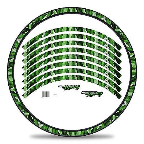 Finest Folia Juego de 16 adhesivos para llantas de bicicleta en diseño de camuflaje, juego completo para bicicletas de 27 a 29 pulgadas (verde brillante)