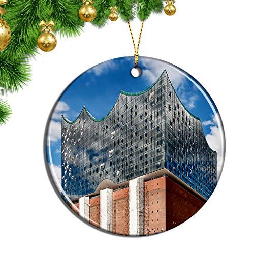 Hqiyaols Ornament Deutschland Elbphilharmonie Hamburg Weihnachten Ornamente Hängende Verzierung Keramik Souvenir Stadt Reise Geschenk Baum Tür Fenster Decke Zierschmuck Deko