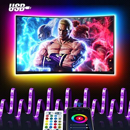 Wifi 3M Tira led Rgb TV con Usb, Maxcio Luces de colores con Brillo Ajustable, Control de Voz y Smart Life, Led para TV con Control Remoto de Infrarrojos Compatible con Alexa/Google Home